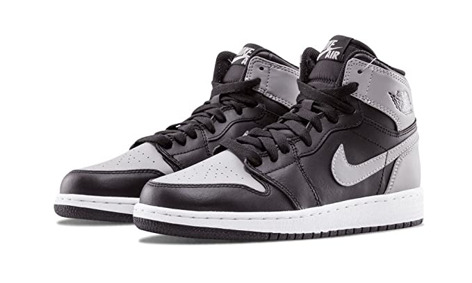 Nike air Jordan 1 Retro high OG BG hi top Trainers 575441 Sneakers Shoes  (UK 6 US 6.5Y EU 39, Black Soft Grey 014)