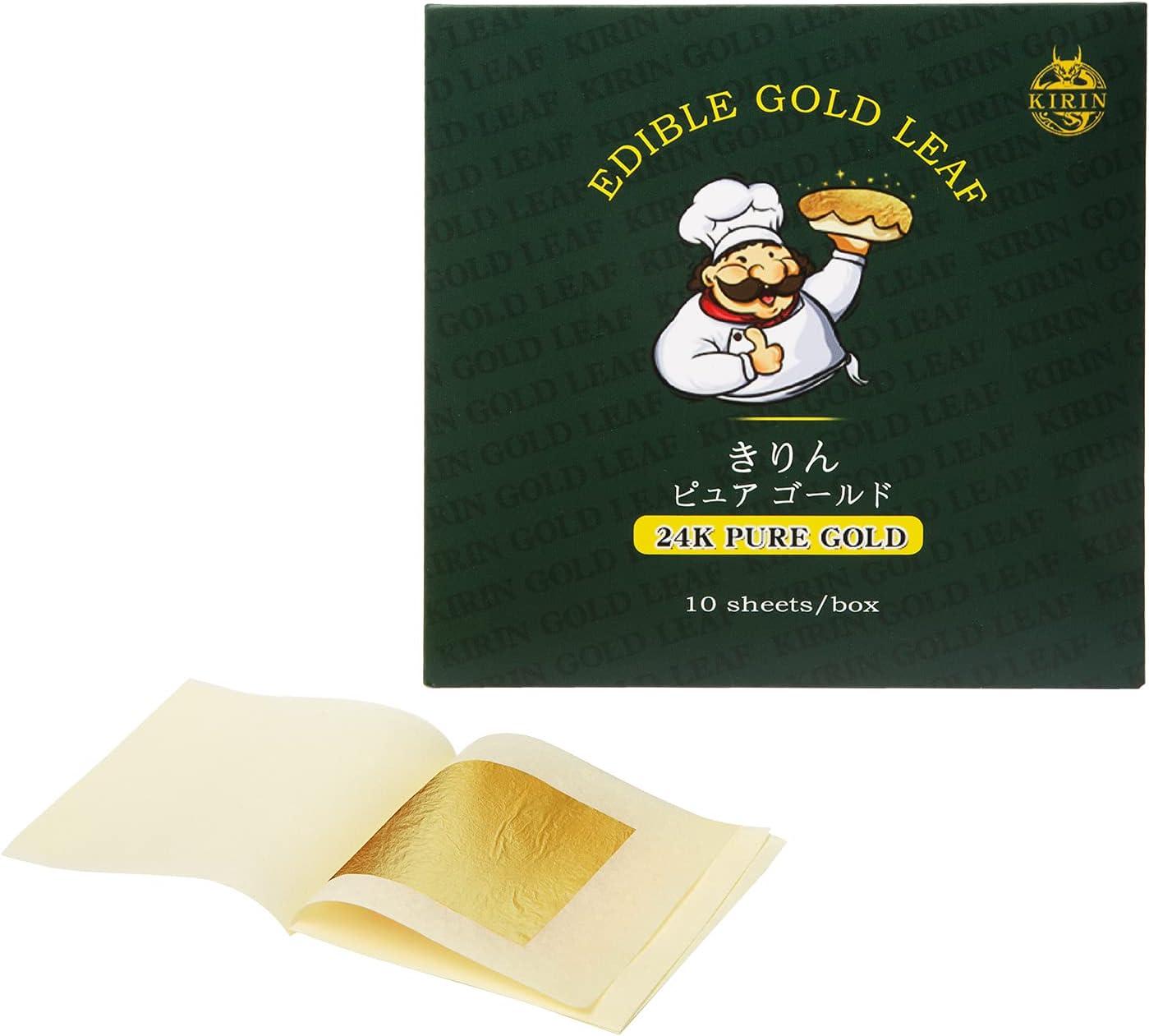 24K Edible Gold Leaf Sheets 10 Sheets 1.7
