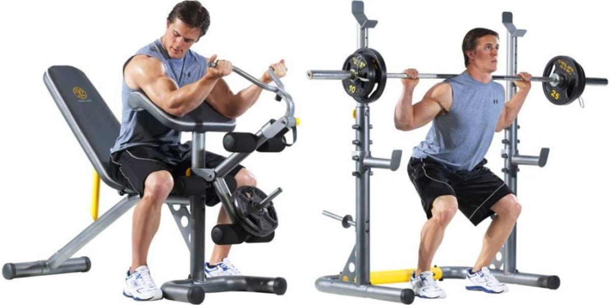 Amazon.com: Gold's Gym XRS 20 Olympic Workout Bench and Squat Rack(Bar and weights NOT Included) : Home Improvement