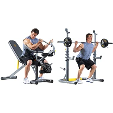 Gold's Gym XRS 20 Olympic Workout Bench and Squat Rack(Bar and Weights NOT Included)