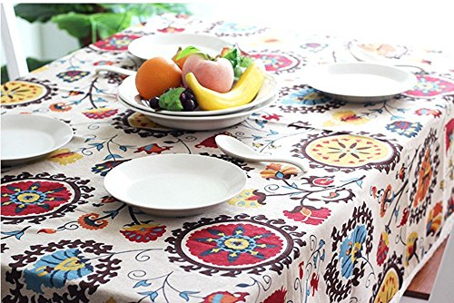 Ethnic Style Quality Cotton &Linen Lacework Dining Tablecloth Multi Functional Table Cloth for Party Picnic Outdoor Use.