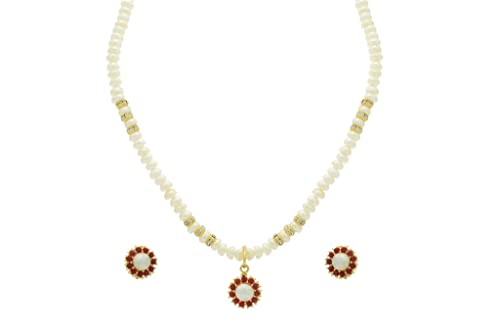 8c69d90d7a3 NATURAL FRESH WATER PEARLS SINGLE STING PEARLS SET FROM HYDERABAD ADPRLS253  available at Amazon for Rs