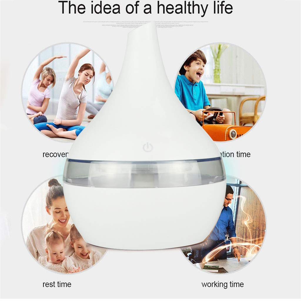 Sugely 300ml Essential Oil Diffuser Aroma Diffuser, Electric Ultrasonic Humidifier with Cool Mist,Waterless Auto-Off, Whisper-Quiet and 7 Colorful LED Lights - Wood Grain (C, 110X110X140mm)