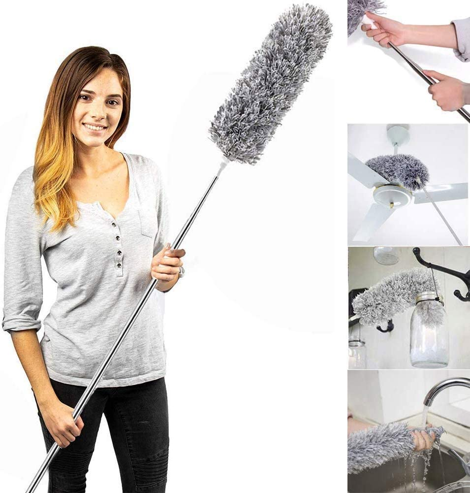 Microfiber Duster with Extension Pole (30 to 100 inches) Non-Scratch, Bendable, Washable, Hypoallergenic, Lint Free Dusters for Cleaning Ceiling Fan, Blinds, Cobwebs, Baseboards