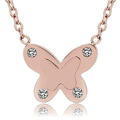 0068483aa57c AnaZoz Collar Acero Inoxidable Collar de Mujer Collar Colgante Mujer Collar  Mariposa Circonita Blanco Collar Oro Rosa Mujer  Amazon.es  Joyería