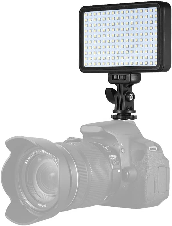 Andoer PAD160 LED Video Light 6000K Dimmable Fill Light Continuous Light Panel 12W CRI90 with Camera Mount and CT Filter for DSLR ILDC Cameras Light Stand for Small Product Portrait Photography