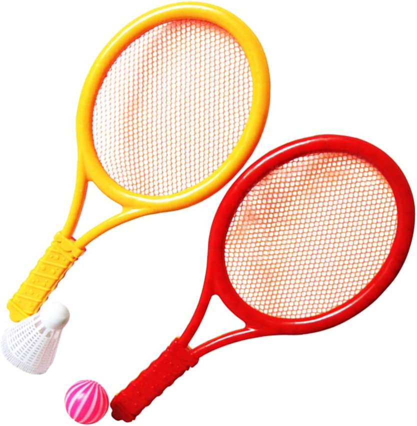 Amazon.com : LIOOBO 1 Pair of Plastic Small Siza with Tennis Balls  Badminton Racket for Kids Exercises : Sports & Outdoors