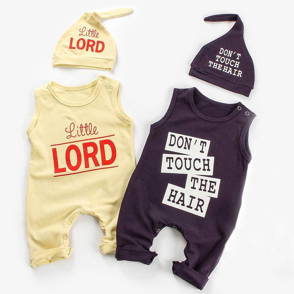 Baby Overall Sommer Hut Outfits Set 0-24 Monate Huhu833 2 Pcs Neugeborenen Strampler Jungen M/ädchen /Ärmellos Spielanzug Kleidung