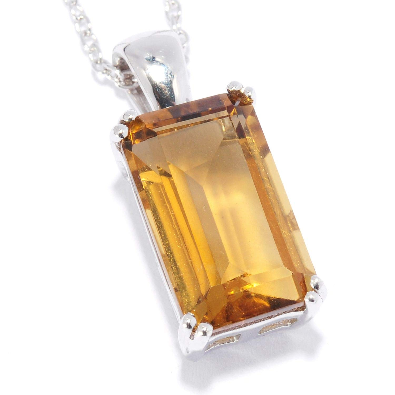 Pinctore Sterling Silver 4.83ctw Whisky Quartz 0.81L Pendant with 18 Chain