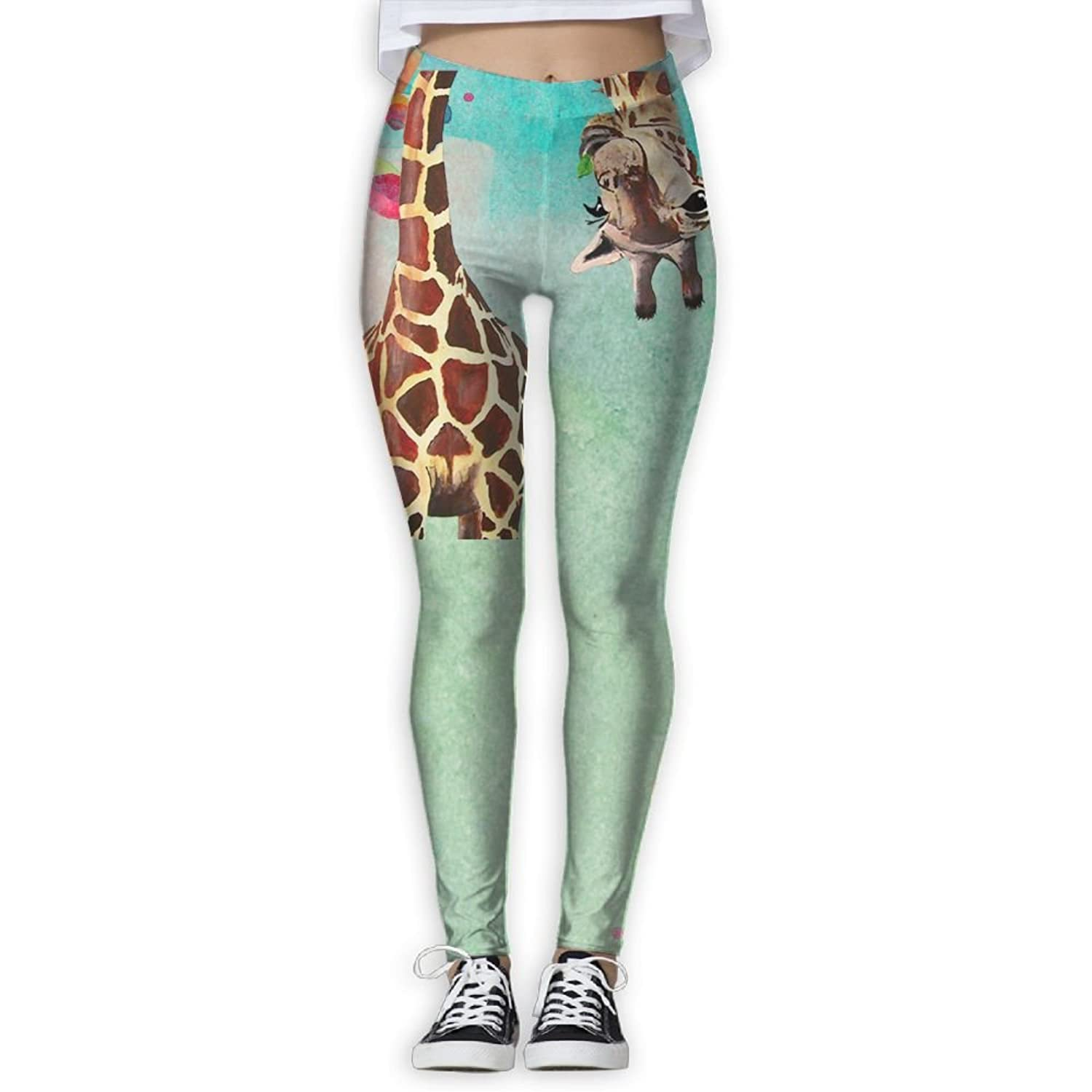 A Giraffe Bent Down Women's Fitness Sport Digital Printed Yoga Pants