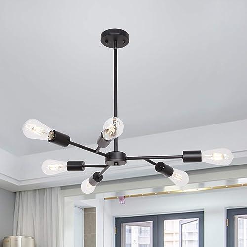 Banato Sputnik Chandelier Modern Black 6 Lights Hanging Pendant Lighting Vintage Industrial Ceiling Light Fixture