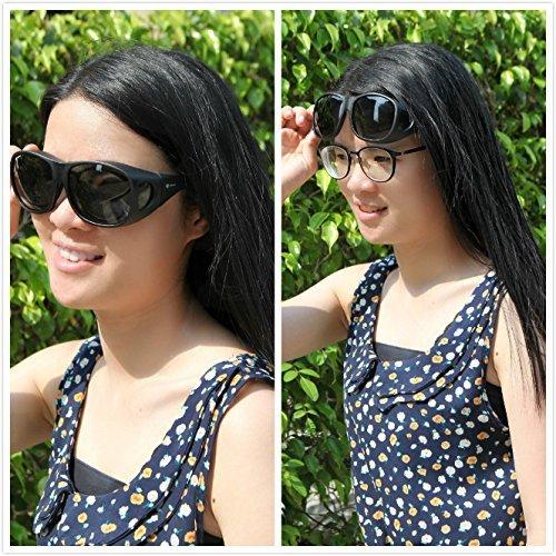 Solarfun Polarized Fit Over Glasses Sunglasses Wrap Around Solar Reduce Shield for Men and Women's Driving,Black by Solarfun (Image #2)