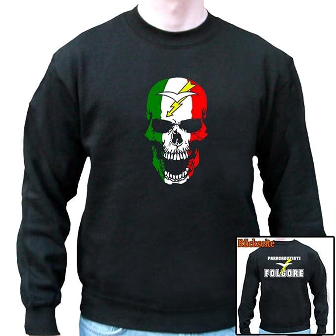 folgore paracadu tisti Italia Paracaidista Calavera Bandera de - Sudadera # 6717 Negro Large: Amazon.es: Ropa y accesorios