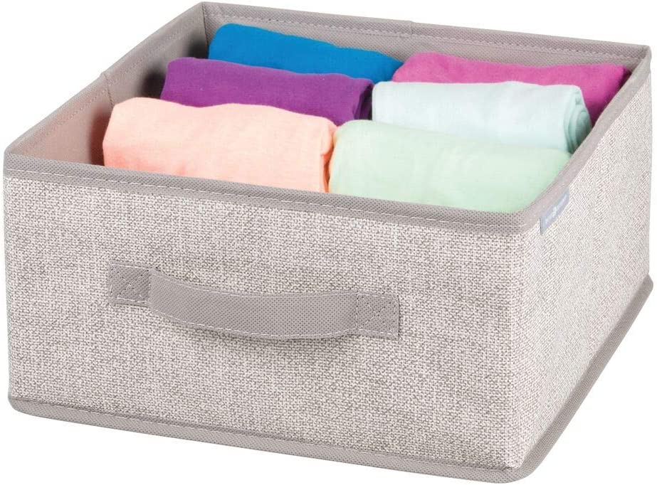 Open-Top Fabric Storage Bins for Clothing and Accessory Storage Outdoors and Home Fabric Storage Cubes with Textured Pattern for Toys Charcoal mDesign Set of 2 Half-Cube Storage Boxes
