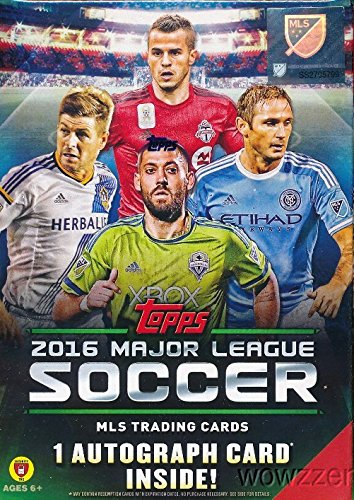 (2016 Topps MLS Major League Soccer EXCLUSIVE Factory Sealed Retail Box with AUTHENTIC MLS AUTOGRAPH Card & 8 Packs! Look for Cards & Autographs of David Villa, Kaka, Frank Lampard,)