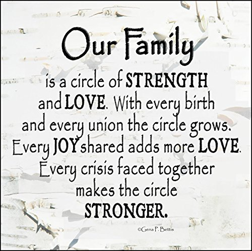 """Our Family Circle of Strength Rustic Tree 10/"""" x 10/"""" Wall Art Sign Plaque"""