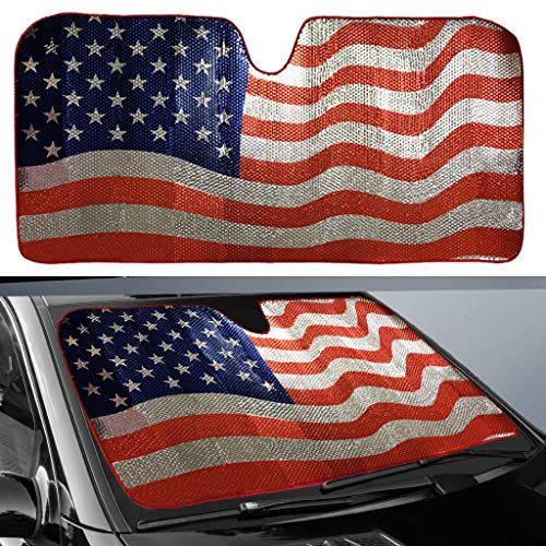 (Big Ant Car Sun Shade, Windshield Sun Shade American Flag Sunshades Keep Vehicle Cool Best UV Ray Visor Protector Prevent Your Car from Sun Heat & Glare(Size: 63