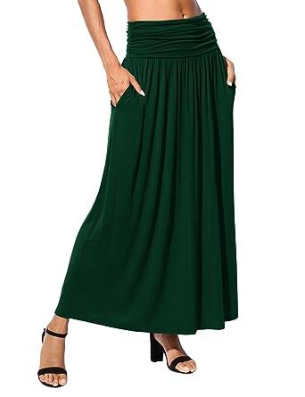 f6f3fcc77e5a DJT Femme Jupe Longue Haute Taille Maxi Jupe Unie Elastique avec des Poches  Vert foncé 2XL