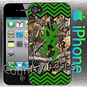 Country Girl Green and Black Chevron and Camo Buck Iphone 4 / 4s Case
