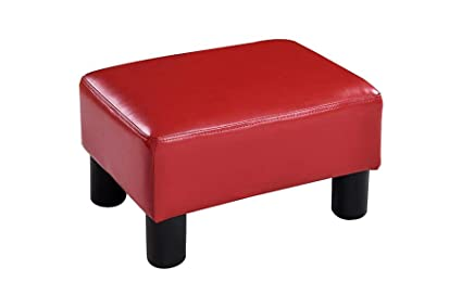 Exxtra Store Red Pu Leather Ottoman Small Rectangular Footstool Footrest Seat Stool Ebook