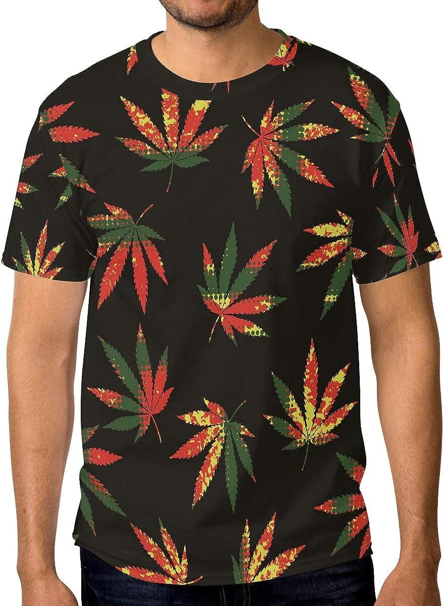 Ahomy Los hombres de la moda de las camisetas de la hoja de la marihuana del cáñamo del cuello redondo de la manga corta de las camisetas ocasionales
