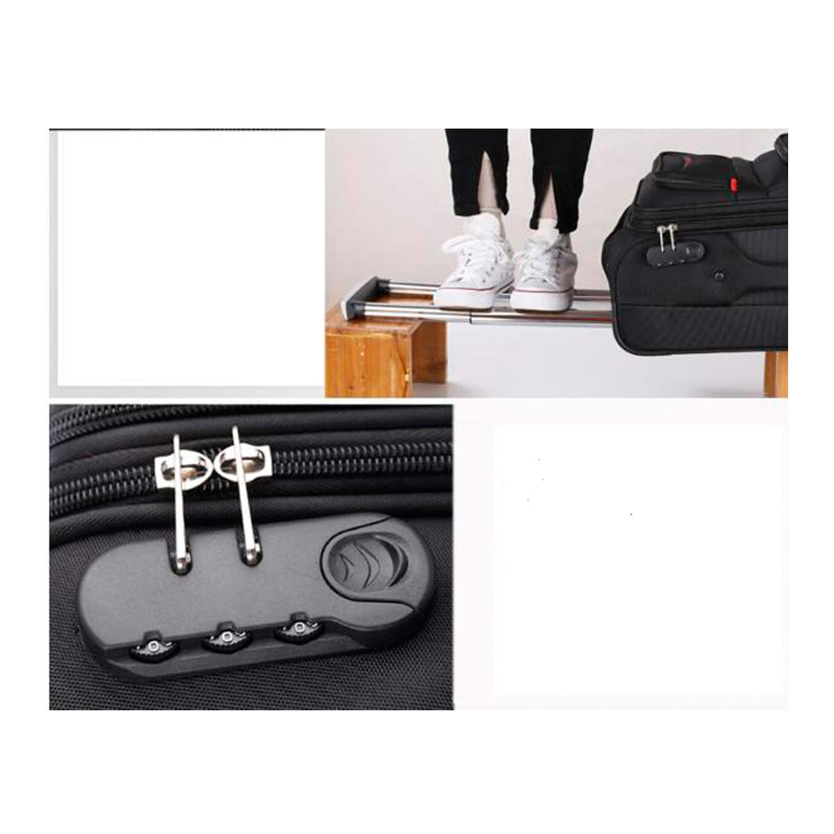 Carrying Case Black Latest Style Best Gift 20//22//24 Travel Organizer Shengshihuizhong Soft Rotating Luggage Simple Style Trolley Case Color : Black, Size : 20