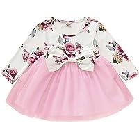 puseky Bebek Kız Elbisesi Çiçekli Fiyonklu Tütü File Elbise Yürümeye Başlayan Çocuk Parti Elbisesi