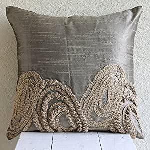 designer silver pillow cases jute swirls. Black Bedroom Furniture Sets. Home Design Ideas
