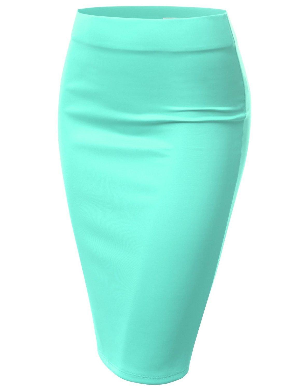 Women's Basic Stretchy Semi Formal Slim Fit Midi Pencil Skirt