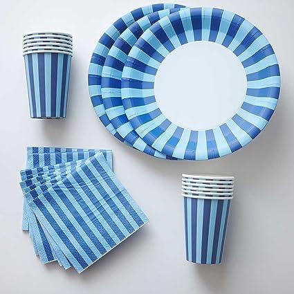 Navy Blue Stripe Paper Plates Cups Napkins - (12) Stripe Paper Plates (12  sc 1 st  Amazon.com & Amazon.com: Navy Blue Stripe Paper Plates Cups Napkins - (12) Stripe ...
