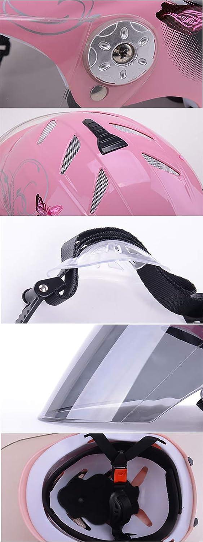 54-61cm Mattschwarz Jet-Helm mit Visier LALEO Schmetterling Muster Einstellbar Offenes Motorradhelm Pink Schwarz Damen und Herren ECE Genehmigt Roller-Helm