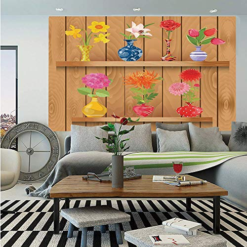 SoSung Daffodil Removable Wall Mural,Glass Vases with Colorful Flowers on Wooden Shelves with Pastel Effects Artsy Graphic,Self-Adhesive Large Wallpaper for Home Decor 66x96 inches,Multi ()