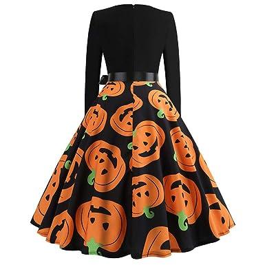 ... Cosecha Calabazas Imprimir Mejor Venta Invierno OtoñO Manga Larga Fiesta De Noche De Halloween Vestido De Swing Vestido: Amazon.es: Ropa y accesorios