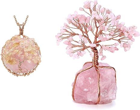 Stretch Necklace Rose Quartz Tree of Life stretch Pendant