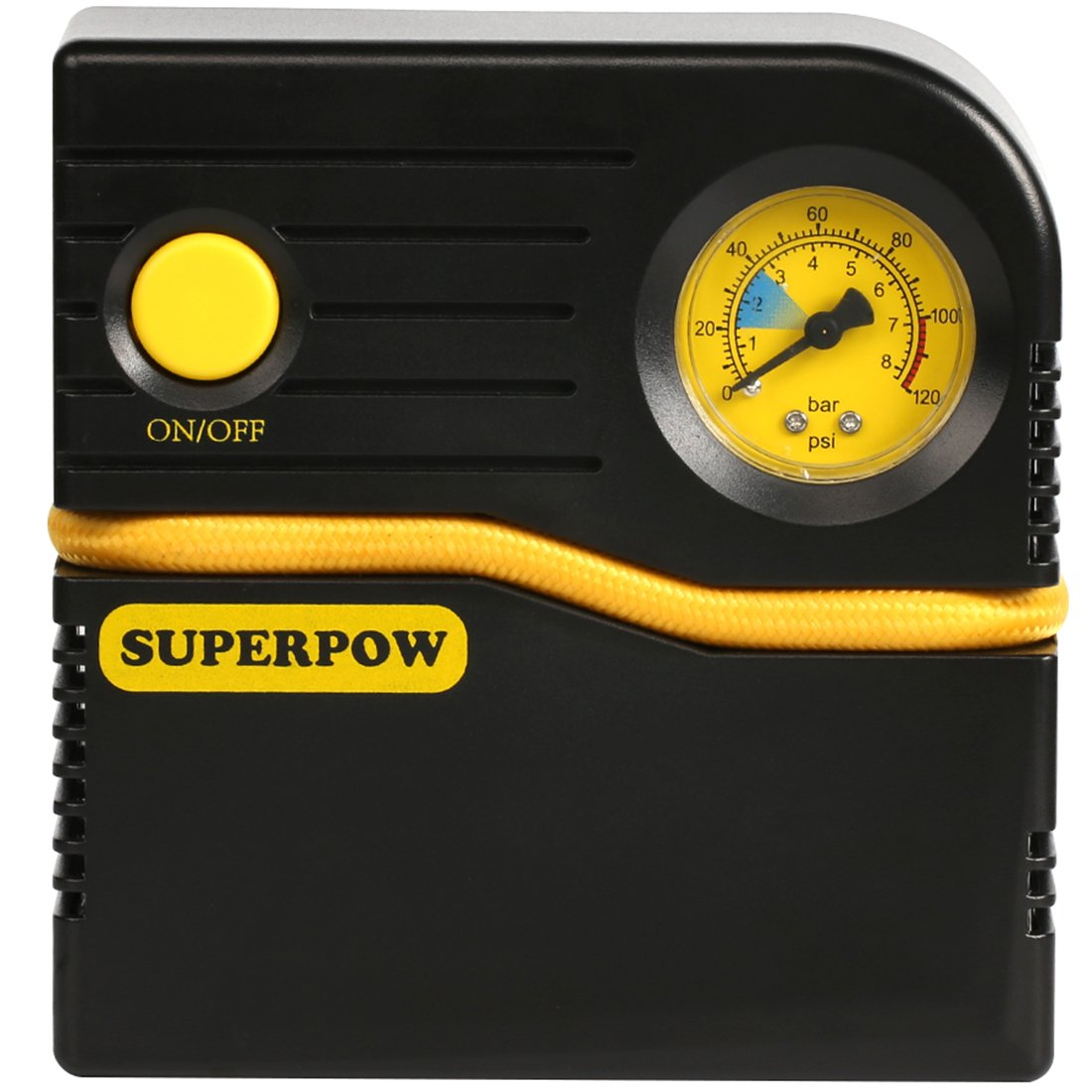Leelbox Air Compressor Portable Auto Tire Pump,Premium Tire Inflator 12V DC For Automobile Car Motorboad Bicycle Basketballs Air Bed Mattress And Other Inflatables (Yellow black)