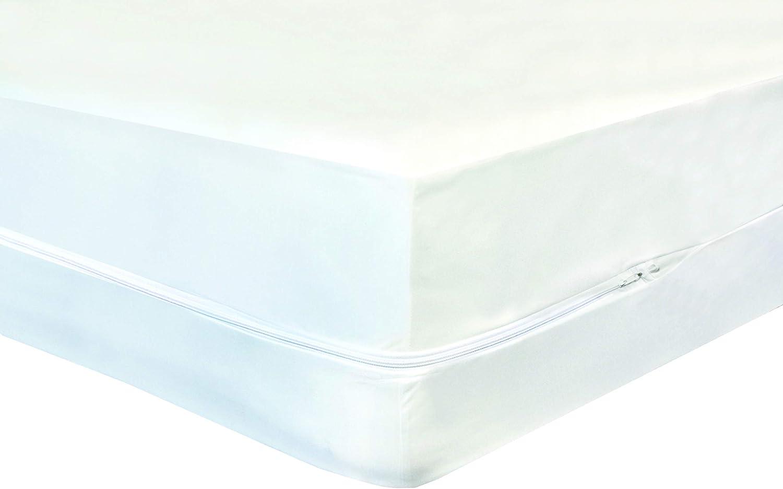Highliving® Cubre colchones impermeables anti-chinches impermeable con cremallera, cubierta protectora con revestimiento total., tela, Blanco, matrimonio: ...