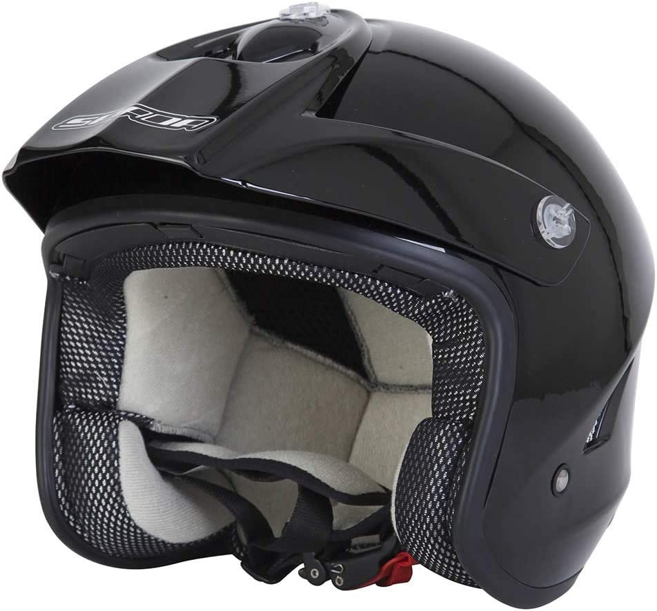 SPADA EDGE TRIALS OPEN FACE MOTORCYCLE SCOOTER DUAL SPORTS ENDURO OFF ROAD HELMET MATT BLACK XS Black Matt