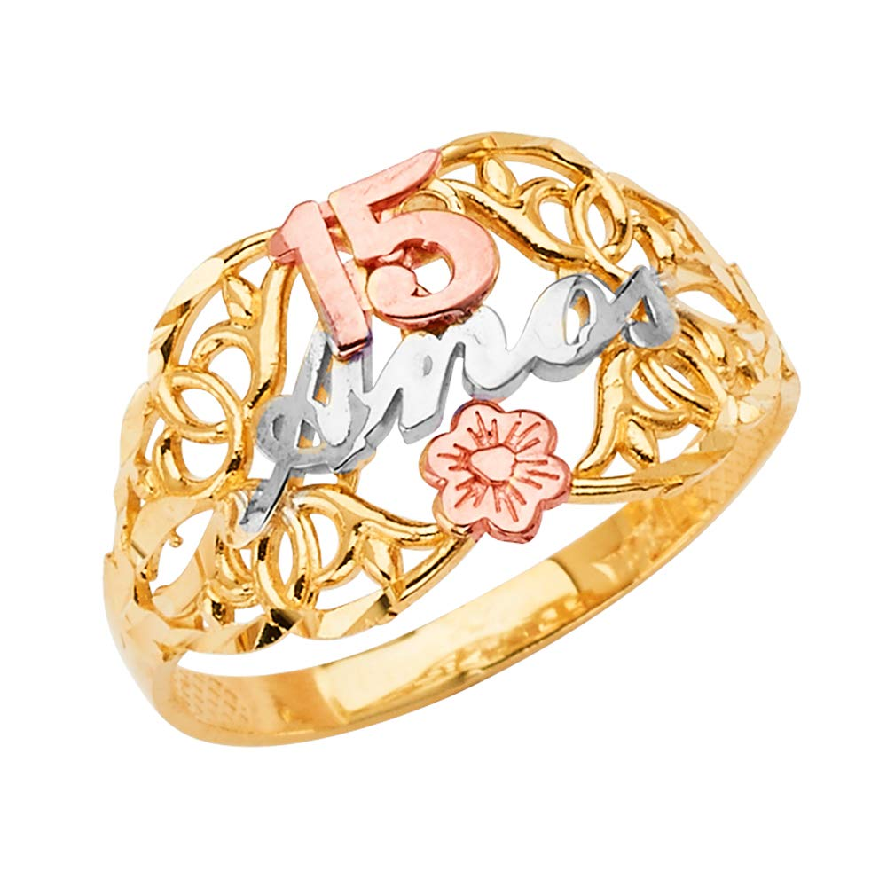 Ioka -14K Solid Tri Color Gold Sweet 15 Anos 15 Years Birthday Quinceanera Flower Ring - size 5