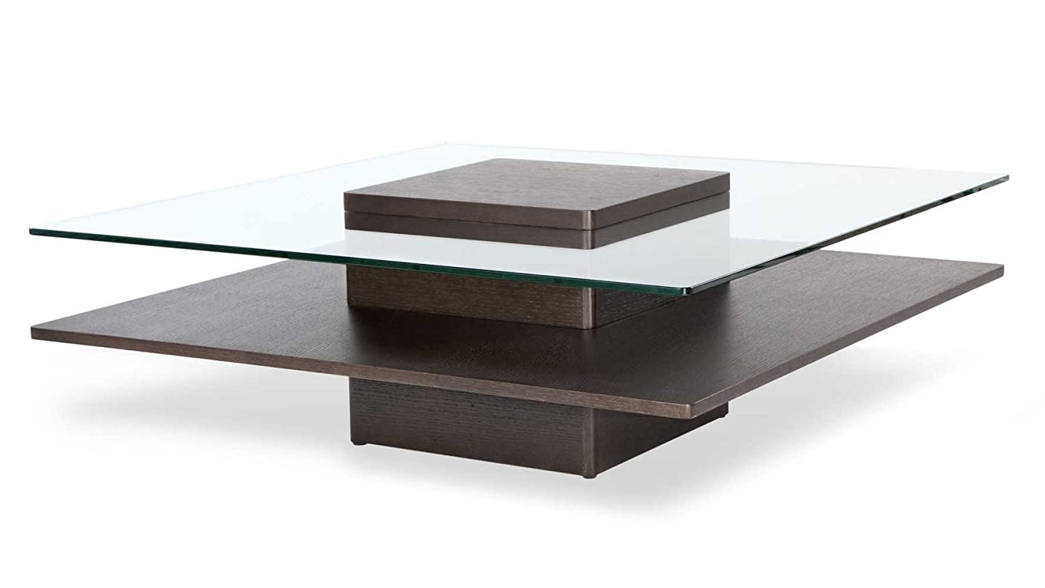 Zuri Furniture Louie Brown Wooden Coffee Table with Glass Top