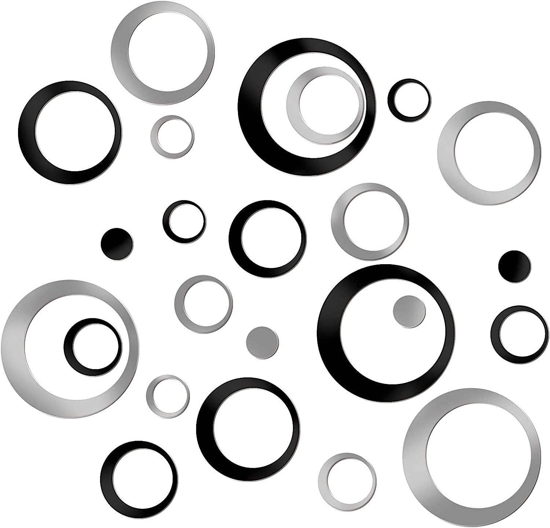 24PCS Acrylic Circle Mirror Wall Stickers,DIY Mirror Stickers Wall Art for Bedroom Bathroom Home Living Room Decor(Black + Silver)