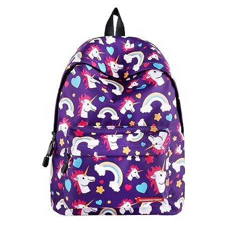 MRXUE Mochila para Niños Bolsa Mochilas Transporte Unicornio-Ideal Niños Ligeros Niñas para La Escuela