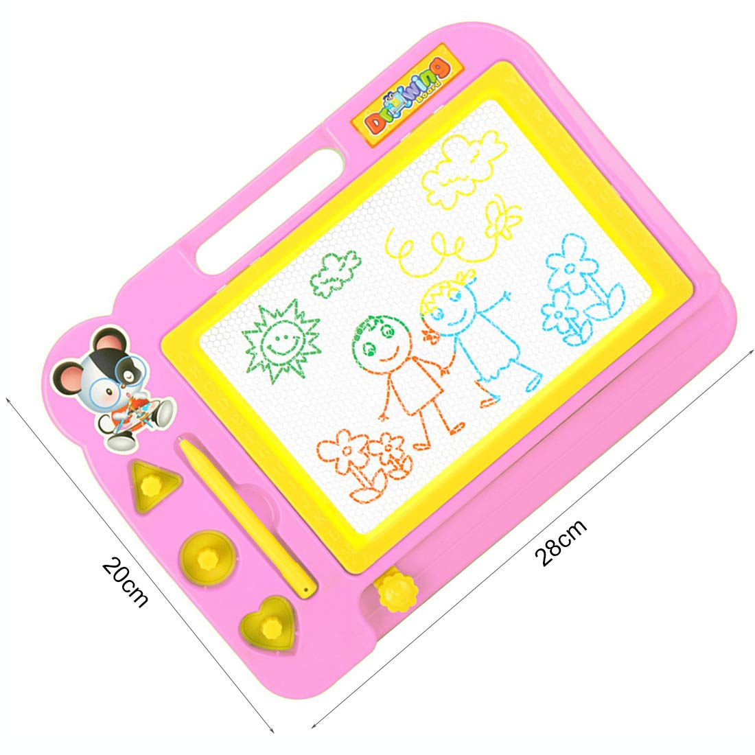 ekuzi Magnetic Drawing Board Erasable Colorful Magna Doodle Drawing Board Educational Toys for Kids,Pink