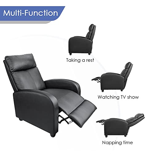 Homall Single Recliner Chair Padded Seat Black PU Leather Living Room Recliner