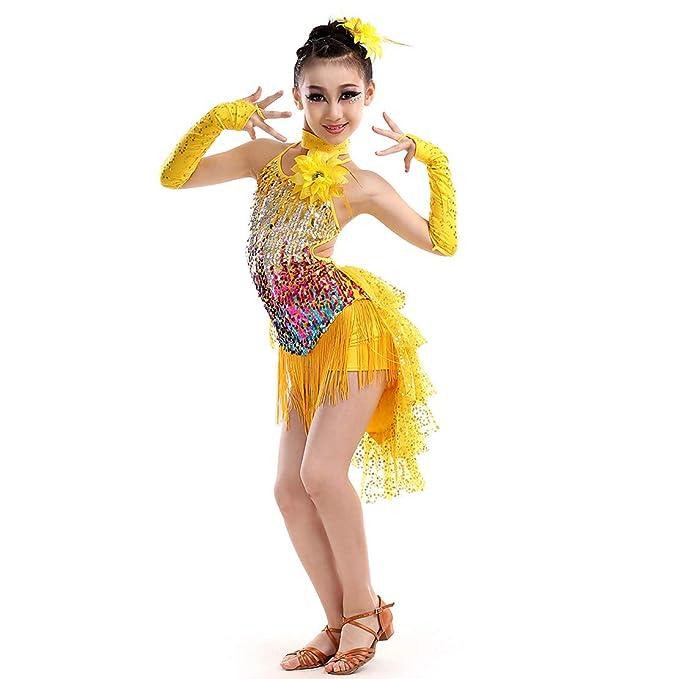 Gaga city Vestido de Baile Latino Niña Traje Lentejuelas ...