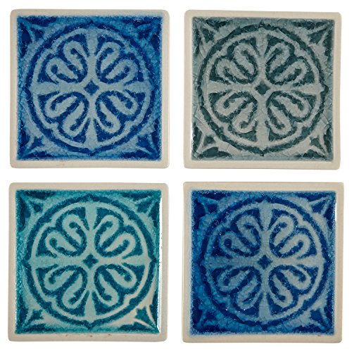 Stone & Beam Medallion Square Stoneware 4-Coaster Set, 4