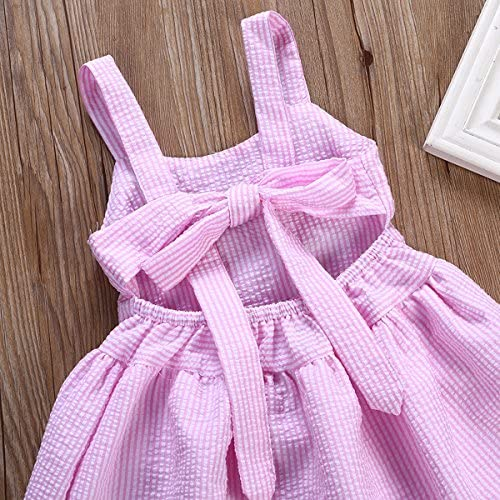 Toddler Baby Kid Girl Pink Bubble Fluffy Strappy Suspender Lace Skirt One Piece Dress