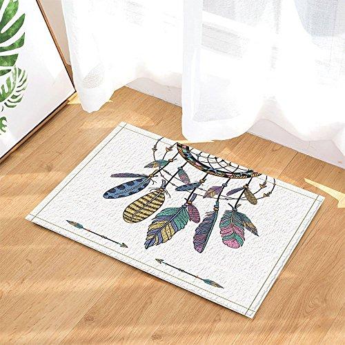 Native American Decor Colorful Ethnic Dreamcatchers with Feathers Bath Rugs Non-Slip Doormat Floor Entryways Outdoor Indoor Front Door Mat Kids Bath Mat 15.7x23.6in Bathroom Accessories