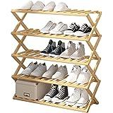 Folding Bamboo Shoes Rack Shelf Plant Stand Storage Organizer Multifunctional for Indoor Entryway Hallway Bathroom…