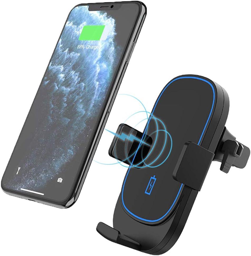 Kdely Cargador Inalámbrico Coche carga rápida,7.5W para iPhone 11/11 Pro Max/XS/XS Max/XR/X/8/8 plus,10W para Samsung Galaxy S20 ultra/S20/S20 plus/S10/S10e/S10 plus/S9/S9 plus/S8/Note 10/10 plus /9/8