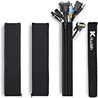 Kriwish (4 Pack) Cable Management Sleeve Black, Cord Management Cable Sleeve for All Wires, Best for TV, Office, Home…